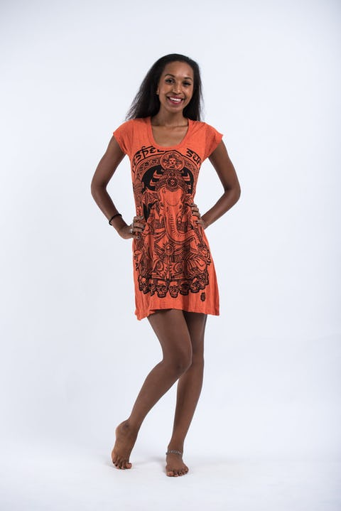 Sure Design Womens Batman Ganesh Dress Orange