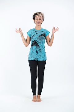 Sure Design Womens Butterfly Buddha T-Shirt Turquoise