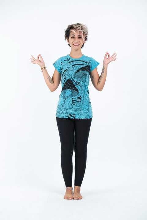 Sure Design Womens Magic Mushroom T-Shirt Turquoise
