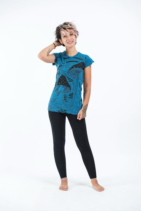Sure Design Womens Magic Mushroom T-Shirt Denim Blue