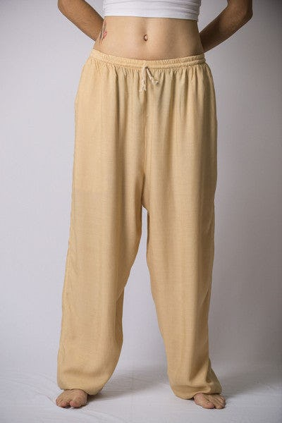 Unisex Solid Color Drawstring Pants in Cream