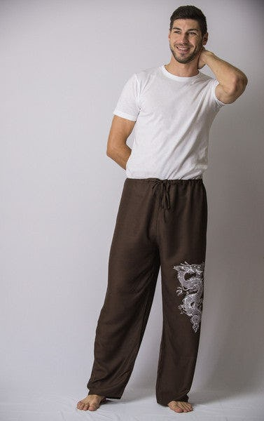 Unisex Brown Thai Unisex The Dragon Pants