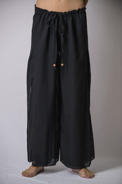 Thailand Super Soft Organic Cotton Double Tiered Pants Drawstring Elastic Black