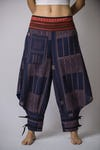 Thai Hill Tribe Fabric Harem Pants with Ankle Straps in Artisan Blue