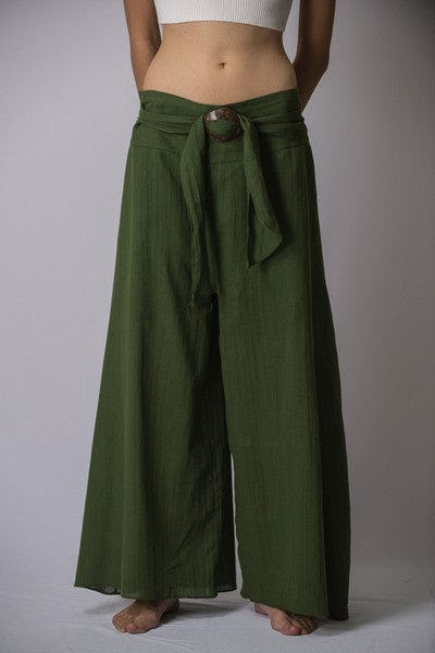 Thailand Super Soft Organic Cotton Wide Leg Yoga Fisherman Pants in Green