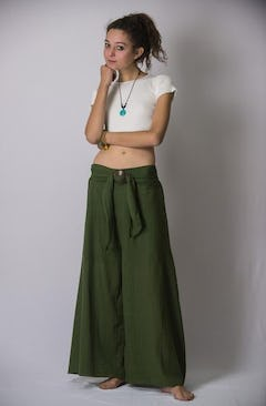 Womens Solid Color Stretchy Palazzo Pants in Gray