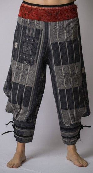 Thai Hill Tribe Fabric Harem Pants with Ankle Straps in Charcoal Gray