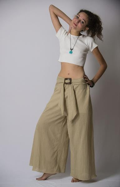 Thailand Super Soft Organic Cotton Wide Leg Yoga Fisherman Pants in Tan