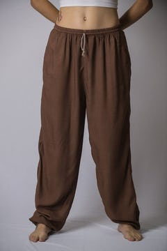 Thai Hill Tribe Fabric Men Harem Pants with Ankle Straps in Beige