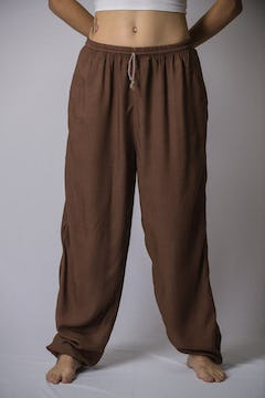 Thailand Super Soft Organic Cotton Double Tiered Pants Drawstring Elastic Tan