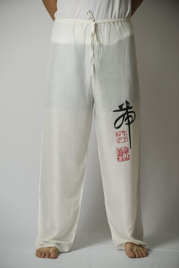 Unisex White Thai Unisex Chinese Writing Pants