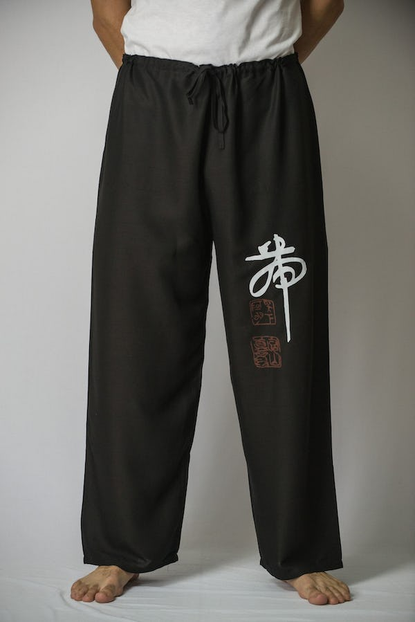 Unisex Black Thai Unisex Chinese Writing Pants