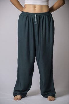 Thailand Super Soft Organic Cotton Double Tiered Pants Drawstring Elastic Green