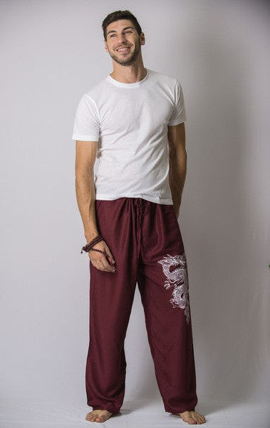 Unisex Burgundy Thai Unisex The Dragon Pants
