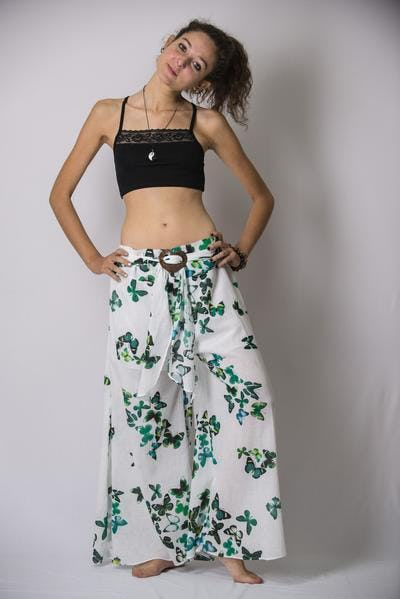 Thailand Super Soft Organic Cotton Wide Leg Yoga Pant Butterfly in Green