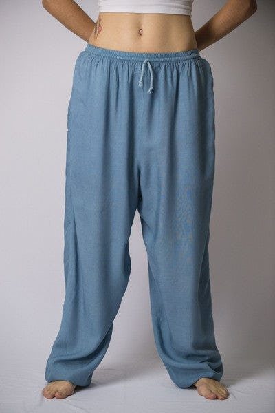 Unisex Blue Gray Super Soft Cotton Yoga Pants