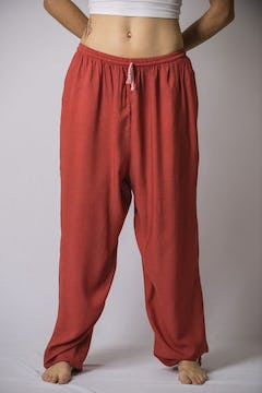 Unisex Red Thai Silk Fisherman Pants