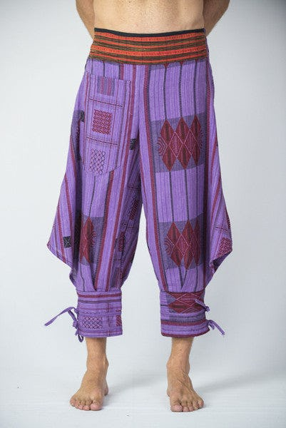 Thai Hill Tribe Fabric Harem Pants with Ankle Straps in Purple