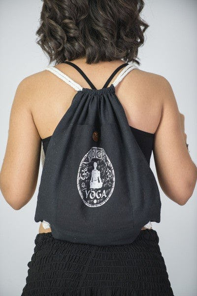 Yoga Stamp Drawstring Cotton Canvas Backpack in Silver on Black