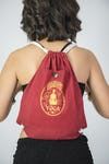 Yoga Stamp Drawstring Cotton Canvas Backpack in Red