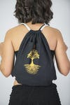 Tree of Life Drawstring Cotton Canvas Backpack in Gold on Black