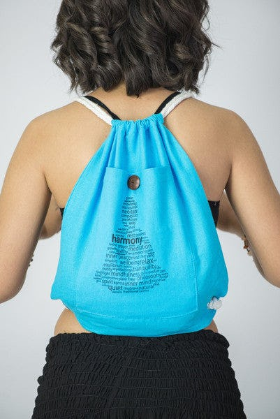 Harmony Drawstring Cotton Canvas Backpack in Blue