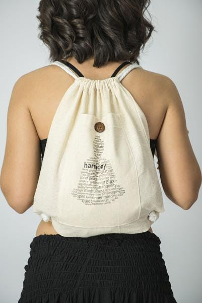 Harmony Drawstring Cotton Canvas Backpack in Cream