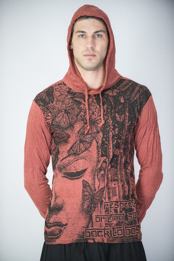 Sure Design Unisex Butterfly Buddha Hoodie Brick