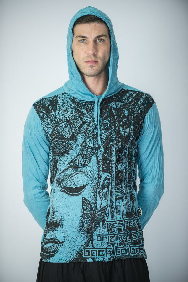 Sure Design Unisex Butterfly Buddha Hoodie Turquoise