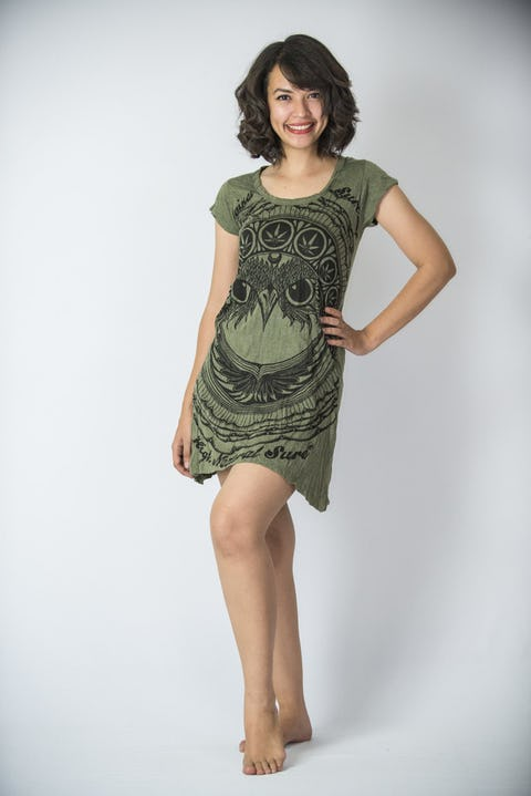 Sure Design Womens Dress Weed Owl Green