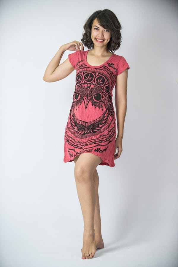 Sure Design Womens Dress Weed Owl Red