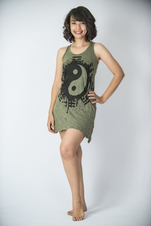 Womens Yin Yang Tank Dress in Green