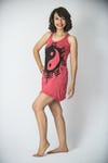 Sure Design Womens Yin Yan Tank Dress Red