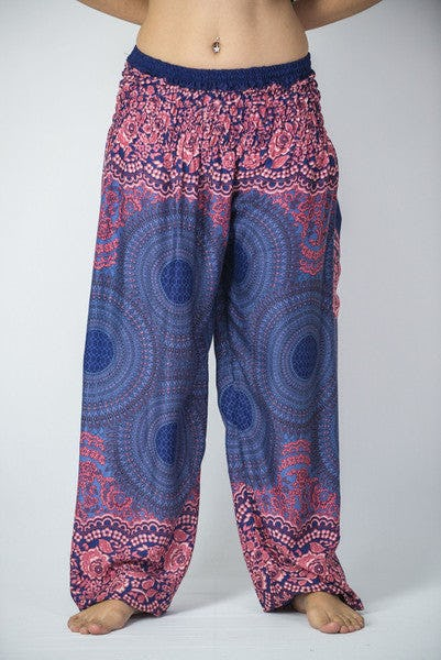 Unisex Geometric Mandalas Harem Pants in Blue
