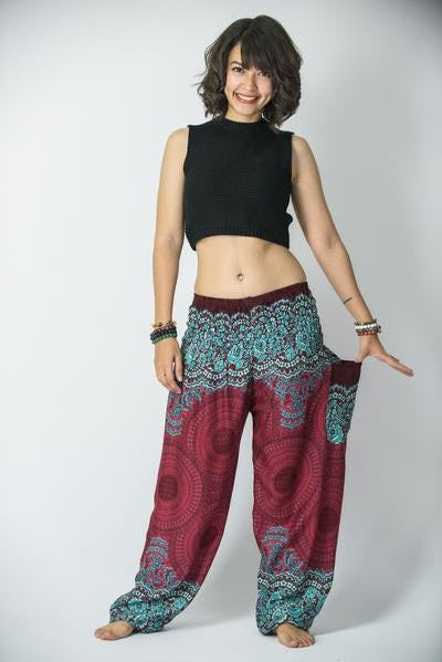 Geometric Mandalas Unisex Harem Pants in Red