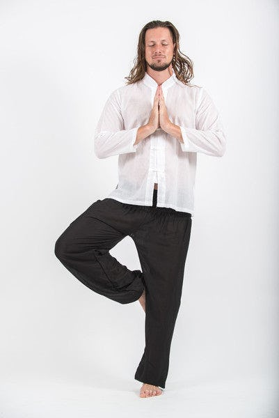 Mens Yoga Shirts Chinese Collared In White