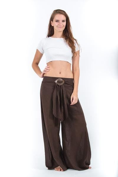 Thailand Super Soft Organic Cotton Wide Leg Yoga Fisherman Pants in Brown