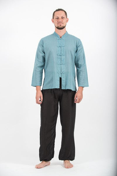 Mens Chinese Collar Yoga Shirt in Aqua