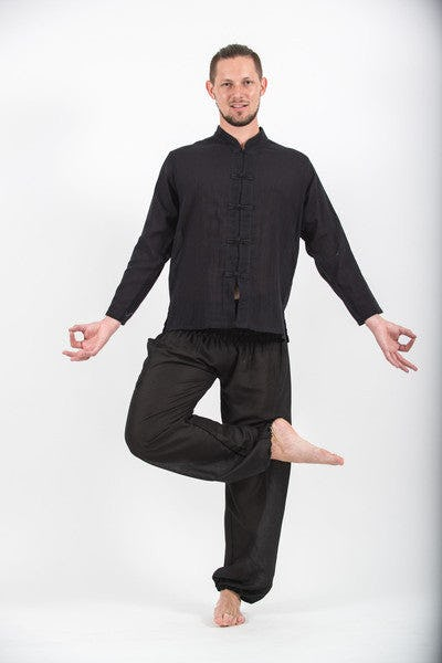 Mens Yoga Shirt Chinese Collared In Black