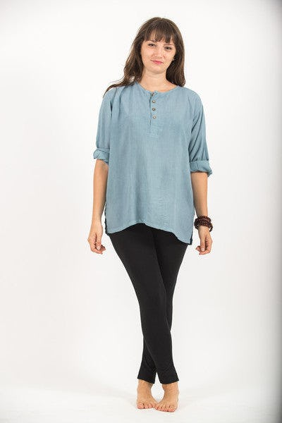 Womens Yoga Shirt No Collar with Coconut Buttons In Aqua