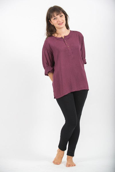Womens Yoga Shirt No Collar with Coconut Buttons In Dark Purple