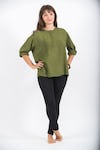 Womens Yoga Shirt No Collar with Coconut Buttons In Olive