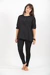 Womens Yoga Shirts No Collar with Coconut Buttons In Black