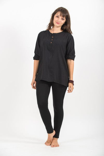 Womens Yoga Shirt No Collar with Coconut Buttons In Black