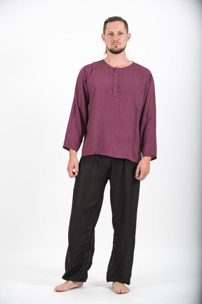 Mens Yoga Shirts No Collar with Coconut Buttons In Dark Purple