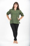 Womens Yoga Shirt Collar V Neck In Olive