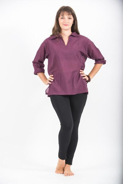 Womens Yoga Shirts Collar V Neck In Dark Purple