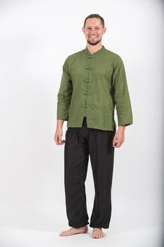 Mens Yoga Shirts No Collar with Coconut Buttons In Olive