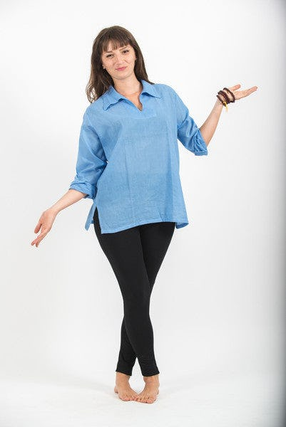 Womens Yoga Shirts Collar V Neck In Blue