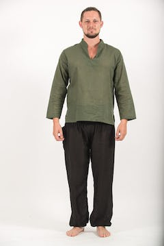 Mens Yoga Shirt No Collar with Coconut Buttons In Olive